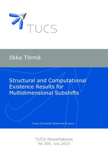 Ilkka Törmä Structural and Computational Existence Results for