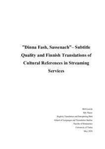 Dinna Fash Sassenach Subtitle Quality And Finnish Translations Of Cultural References In Streaming Services