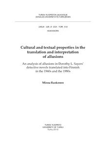Cultural and textual properties in the translation and